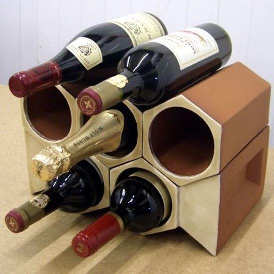 Picture of Terracotta Wine Rack - 7 Bottle Keystone Set Ochre