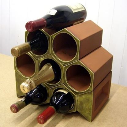 Picture of Terracotta Wine Rack - 8 Bottle Keystone Set Olive Green