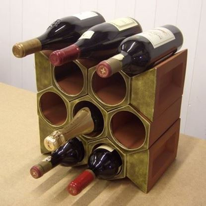 Picture of Terracotta Wine Rack - 10 Bottle Keystone Set Olive Green