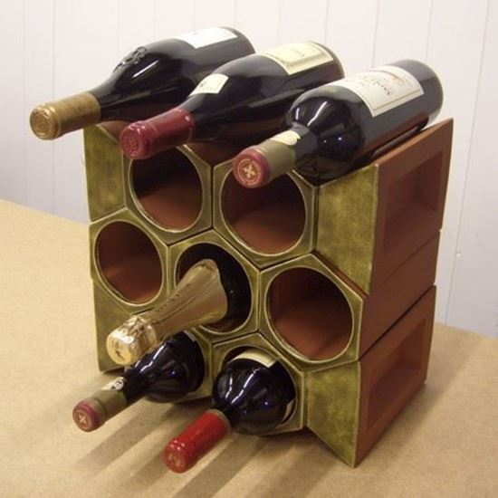 Terracotta Wine Rack 10 Bottle Keystone Set Olive Green