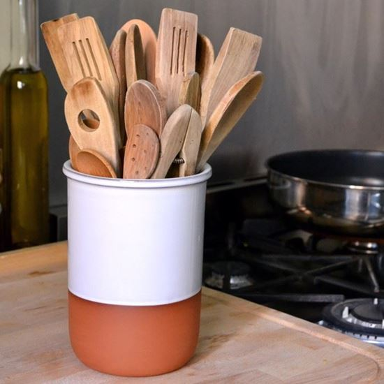 Picture of Utensil Pot - Terracotta & White Glaze
