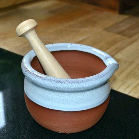 Picture of Hand-Thrown Mortar & Pestle with Oyster Glaze