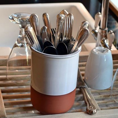 Picture of Cutlery Drainer - Terracotta with White Glaze