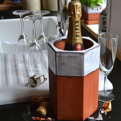 Picture of Hexagonal Terracotta Wine Cooler - Oyster Glaze