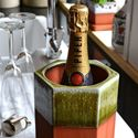 Picture of Large Hexagonal Terracotta Wine Cooler - Apple Glaze