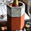 Picture of Large Hexagonal Terracotta Wine Cooler-Turquoise Glaze