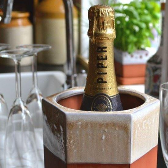 Picture of Large Hexagonal Terracotta Wine Cooler - Mushroom Glaze