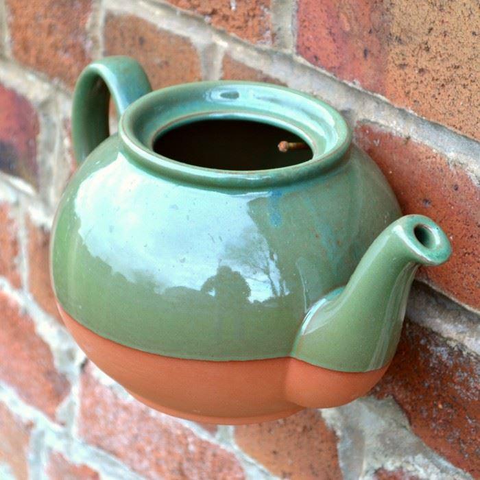 Teapot Wall Pot (Green) | Weston Mill Pottery UK