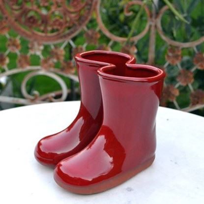 Picture of Glazed Wellies - Planter or Vase - Green, Blue & Red