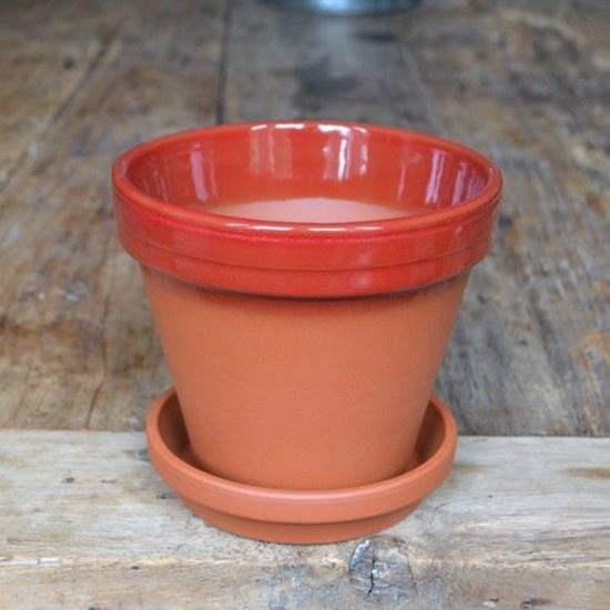 Picture of Terracotta Flower Pot & Saucer - 15cm - Red Glazed