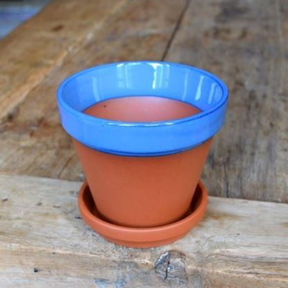 Picture of Terracotta Flower Pot & Saucer - 13cm - Blue Glazed