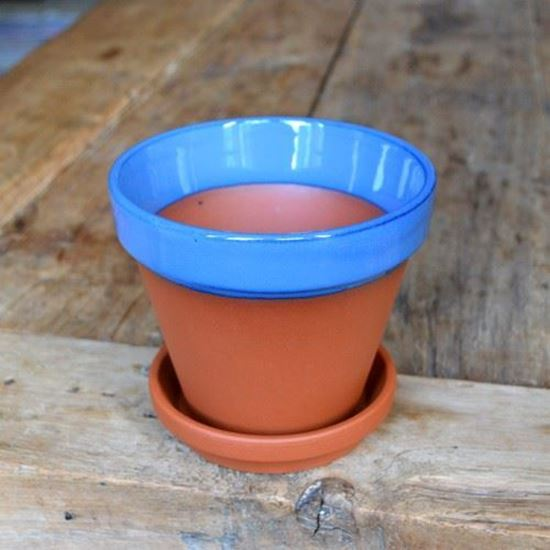 Picture of Terracotta Flower Pot & Saucer - 13cm - Blue Glazed