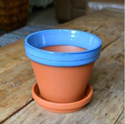 Picture of Terracotta Flower Pot & Saucer - 15cm - Blue Glazed