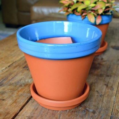 Picture of Terracotta Flower Pot & Saucer - 17cm - Blue Glazed