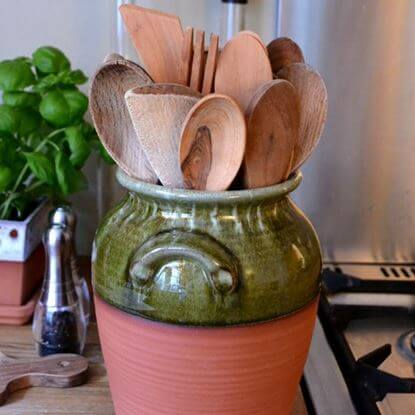 Picture of Utensil Jar - Panella With Apple Green Glaze