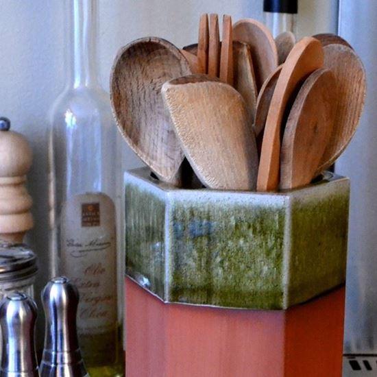 Picture of Utensil Pot - Hexagonal With Apple Green Glaze