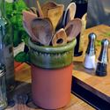 Picture of  Utensil Pots - Round With Apple Green Glaze