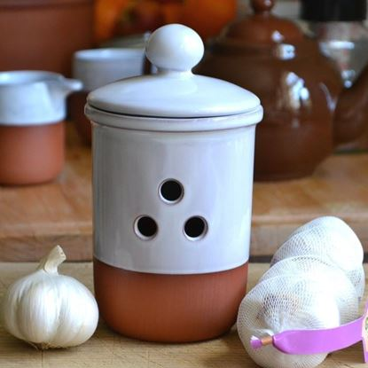 Picture of Garlic Pot with White Glaze - Holes in triangle pattern