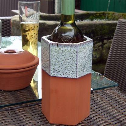 Picture of Hexagonal Terracotta Wine Cooler - Turquoise Glaze