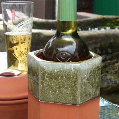 Picture of Hexagonal Terracotta Wine Cooler - Apple Green Glaze