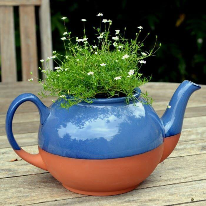 Teapot Planter Large Blue Weston Mill Pottery Uk