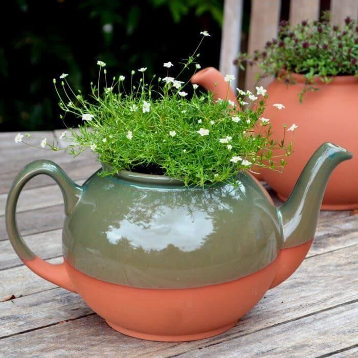 Teapot Planter Large Glazed Weston Mill Pottery Uk