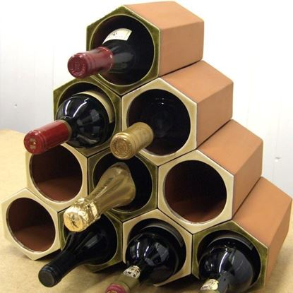 Picture of Terracotta Wine Rack - 10 Bottle Set Olive Green or Ochre Cream Glaze
