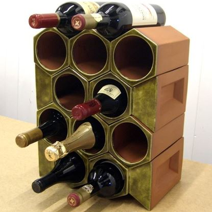 Picture of Terracotta Wine Rack - 12 Bottle Keystone Set - Olive Green