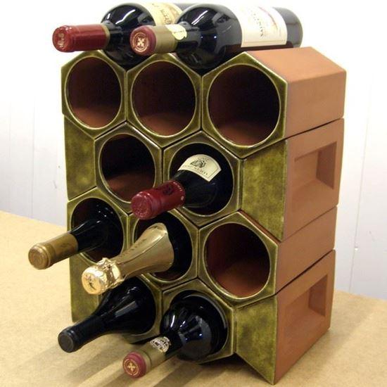 Picture of Terracotta Wine Rack - 12 Bottle Keystone Set - Olive Green
