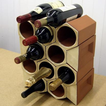 Picture of Terracotta Wine Rack - 12 Bottle Keystone Set - Ochre Glaze