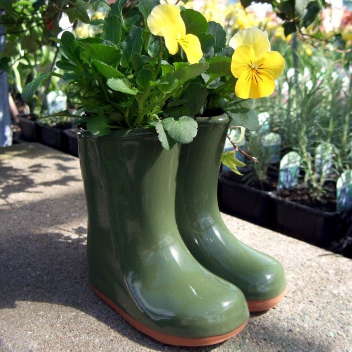 Glazed Wellies Planter Or Vase Green Blue Red Weston Mill