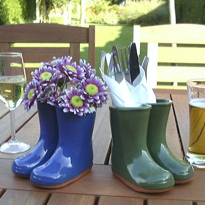 Glazed Wellies Planter Or Vase Green Blue Amp Red