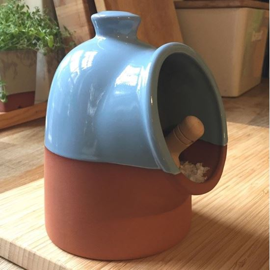 Picture of Salt Pig with Pale Blue Glaze