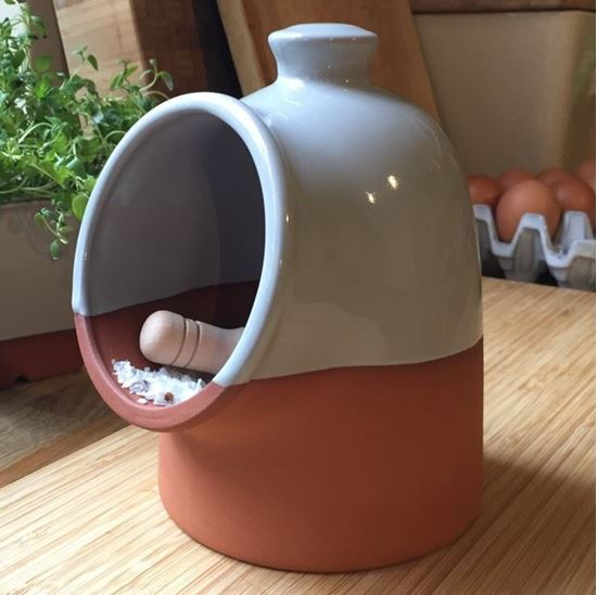 Picture of Salt Pig with Pale Grey Glaze