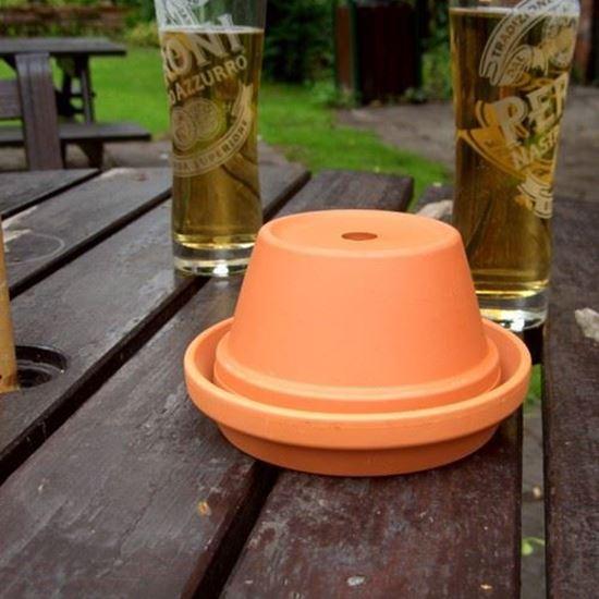Picture of Half Pot Ashtray (13cm dia pot) with unglazed saucer