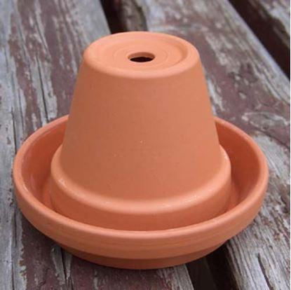 Picture of Mini Plant Pot Ashtray - 8cm pot dia - 11cm unglazed saucer